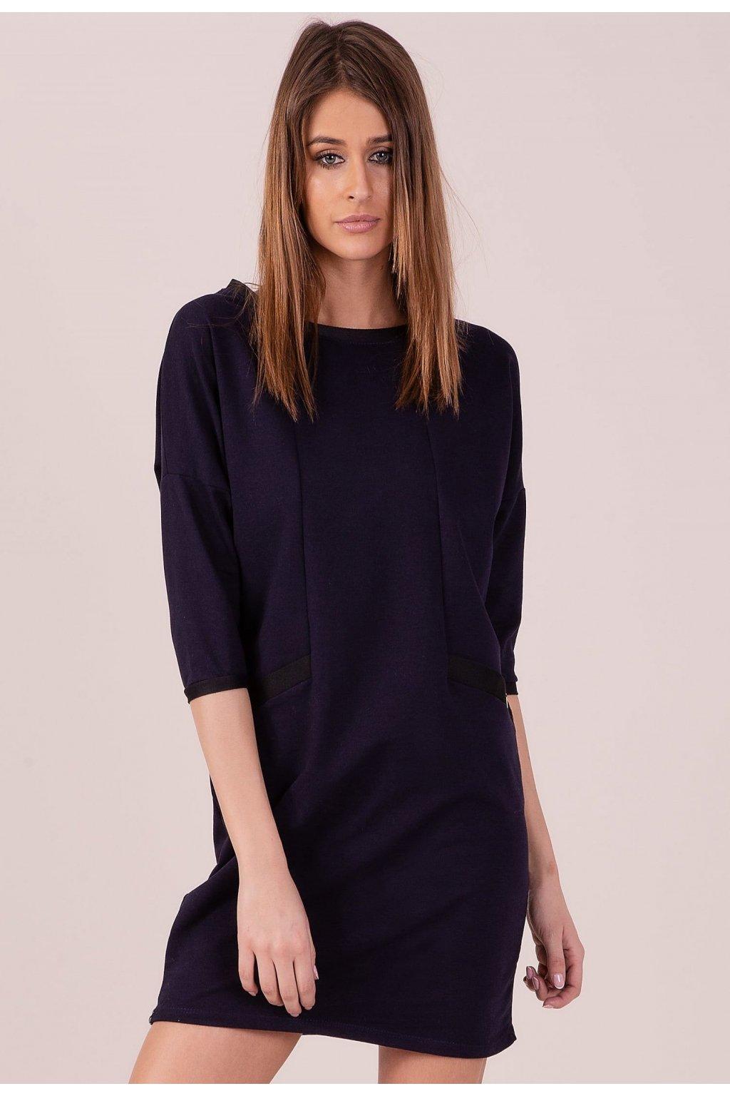 Modré dámské pletené šaty