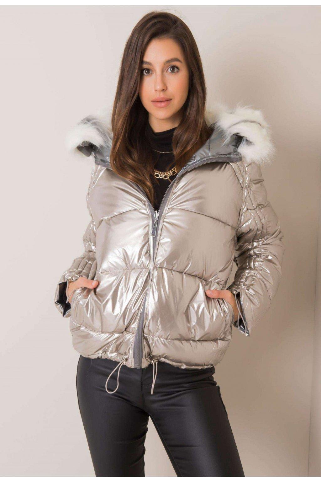 Stříbrná dámská zimní bunda