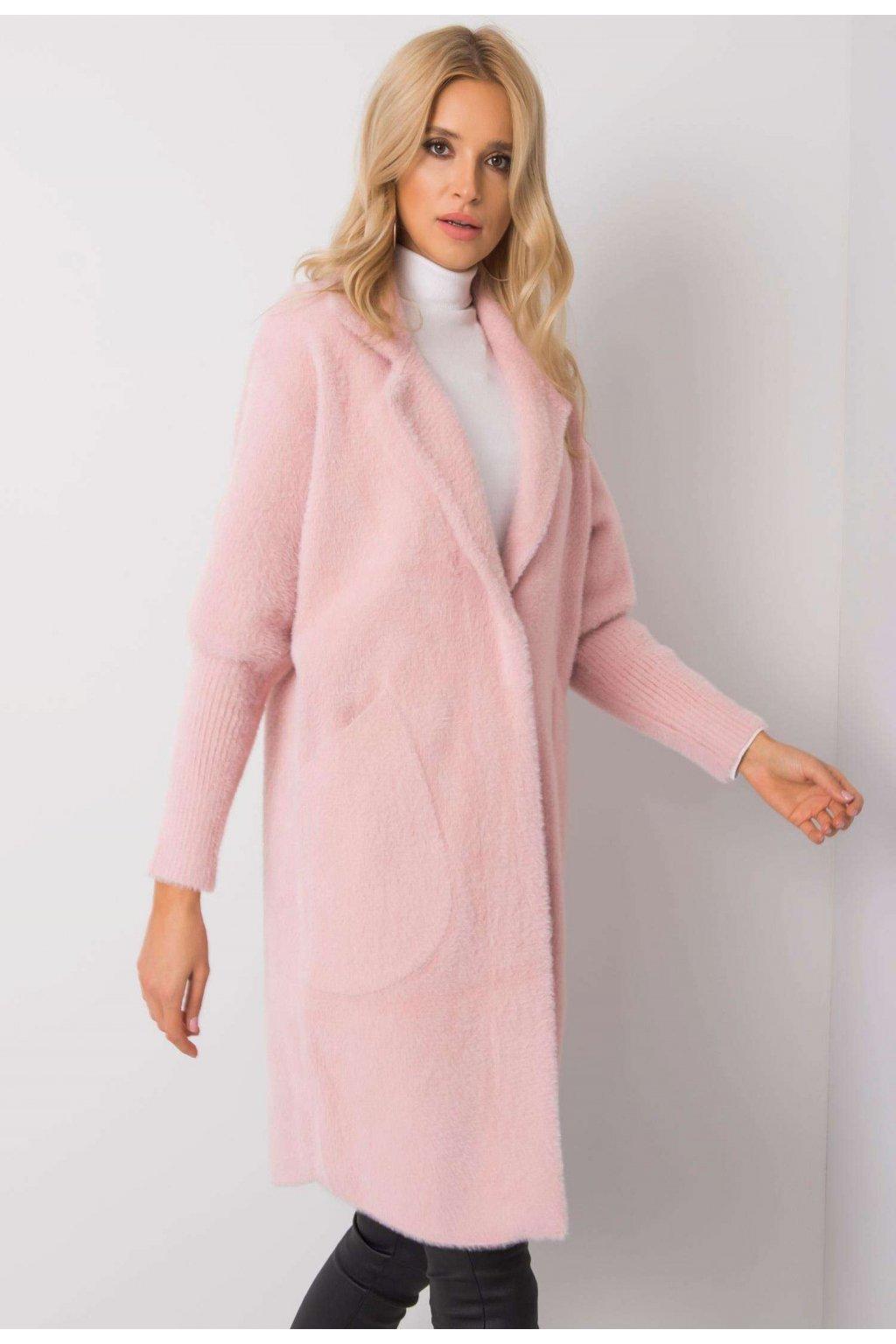Růžový dámský kabát