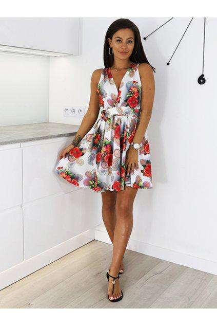 Bílé dámské rozšířené šaty s výstřihem (4)