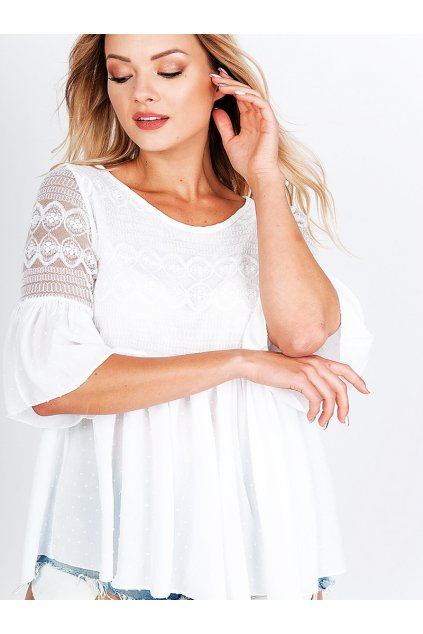 Bílá dámská halenka s krajkou a výšivkou (2)