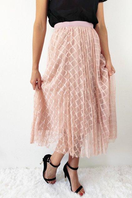 Starorůžová dámská plisovaná midi sukně (3)