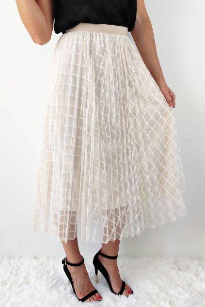 Béžová dámská plisovaná midi sukně (2)