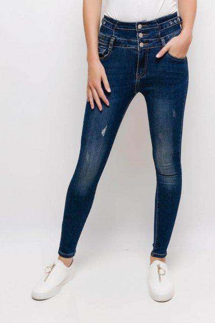 Modré dámské džíny s vysokým pasem2