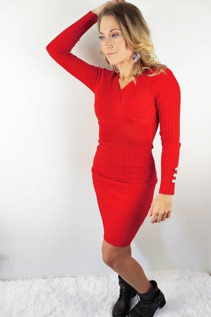 Červené dámské pletené šaty