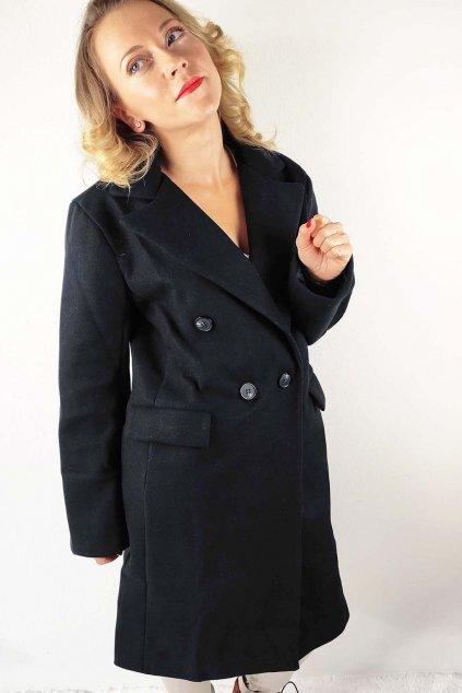 Černý dámský dvouřadý kabát (2)