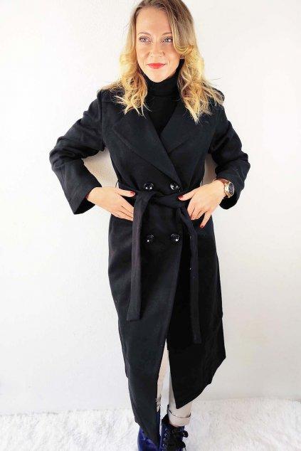 Černý dámský dlouhý kabát s páskem