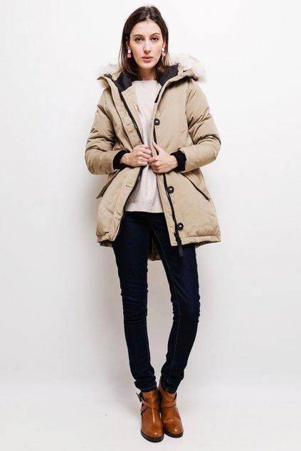 Béžová dámská zimní bunda s kapucí