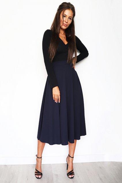 Tmavě modrá dámská midi sukně (4)