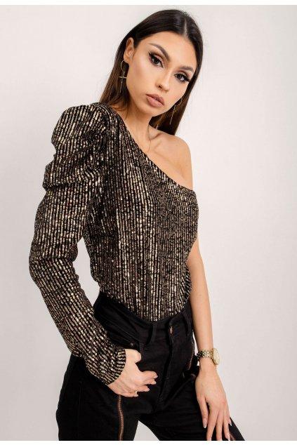 Černo - zlaté dámská elegantní halenka