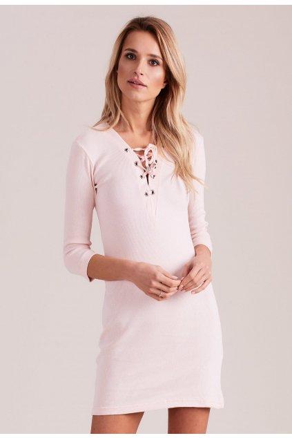 Růžové dámské pletené šaty