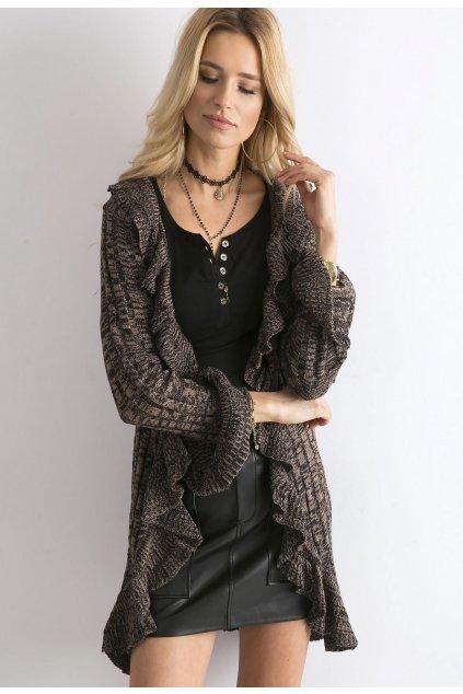 Hnědé dámský dlouhý svetr