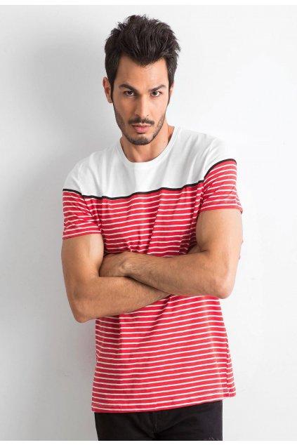 Bílo - červené pánské tričko
