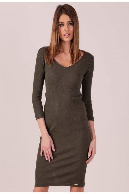 Khaki dámské pletené šaty