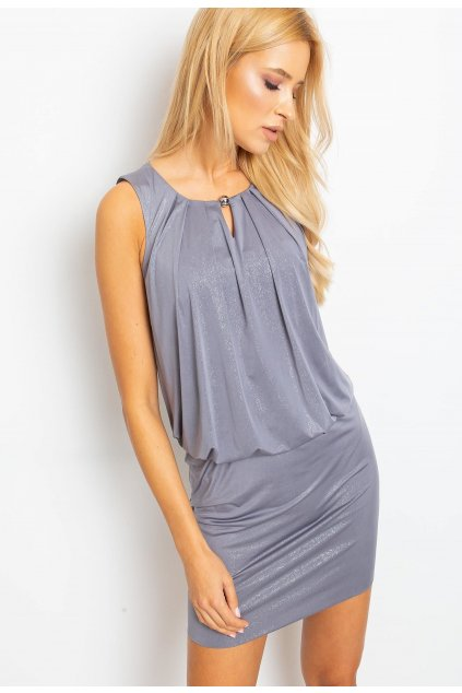 Šedé dámské koktejlové šaty