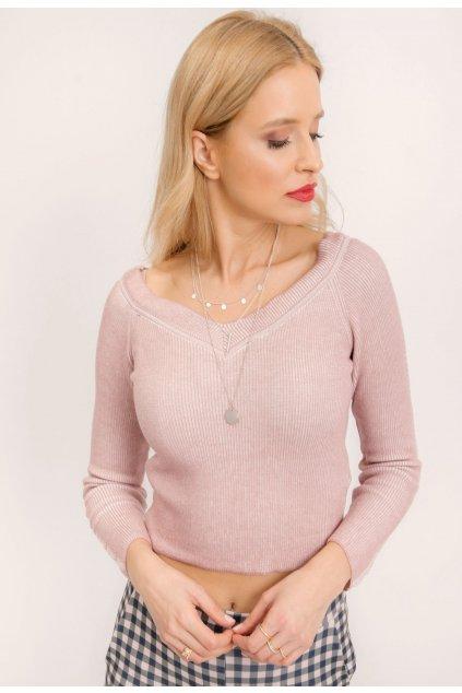 Růžový dámský svetr