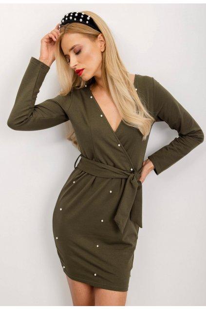 Khaki dámské pouzdrové šaty