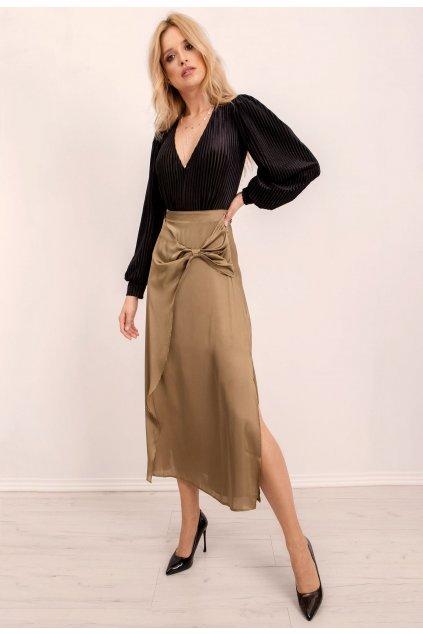 Khaki dámská sukně do áčka