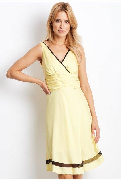 Žluté dámské koktejlové šaty