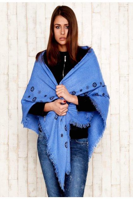 Modrá dámská šála