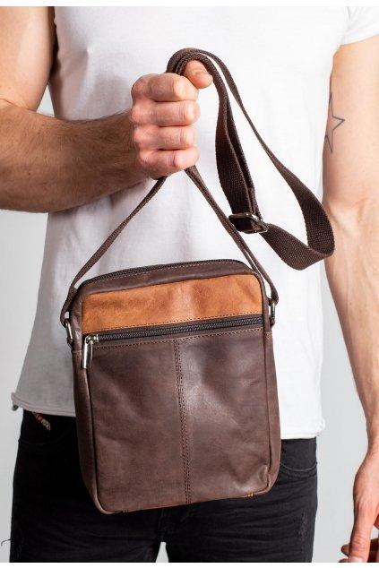 Hnědá pánská taška přes rameno