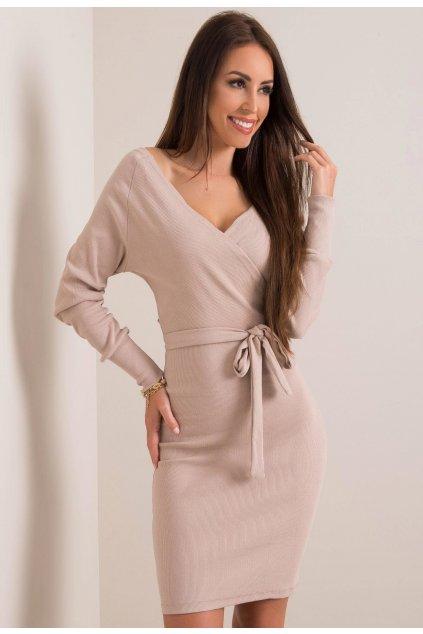 Béžové dámské pouzdrové šaty