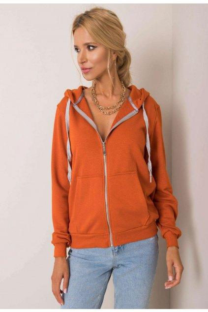 Oranžová dámská mikina s kapucí