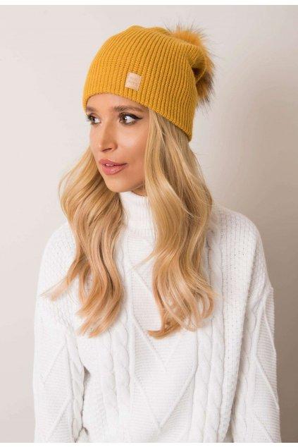 Žlutá dámská čepice