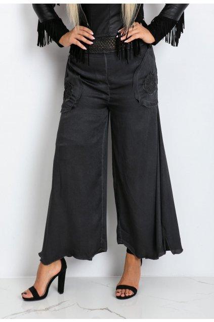 Grafitové dámské kalhoty