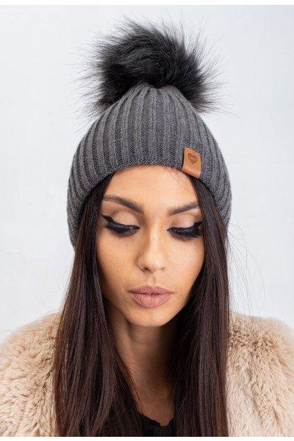 Šedá dámská čepice