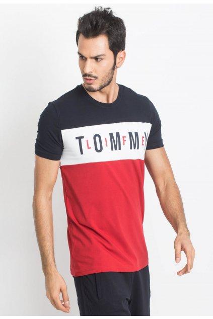 Modro -  červené pánské tričko