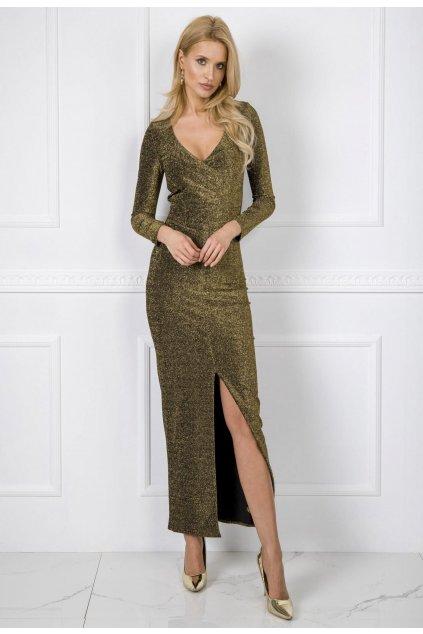 Zlaté dámské koktejlové šaty