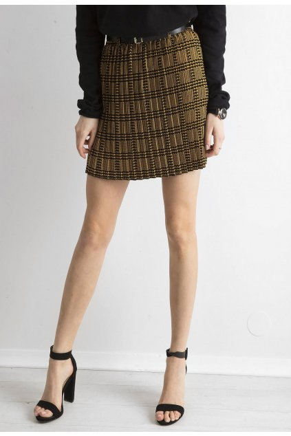 Černo - žlutá dámská plisovaná sukně