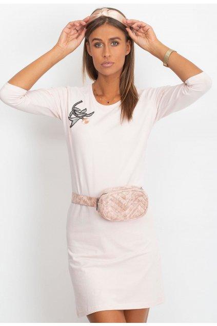 Růžové dámské pouzdrové šaty