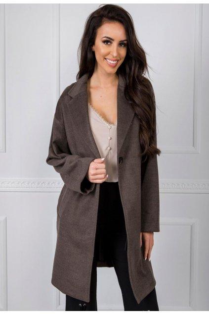 Hnědý dámský kabát