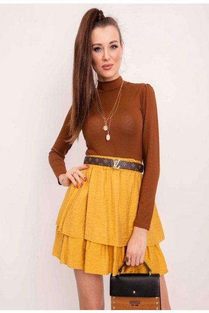 Žlutá dámská sukně do áčka
