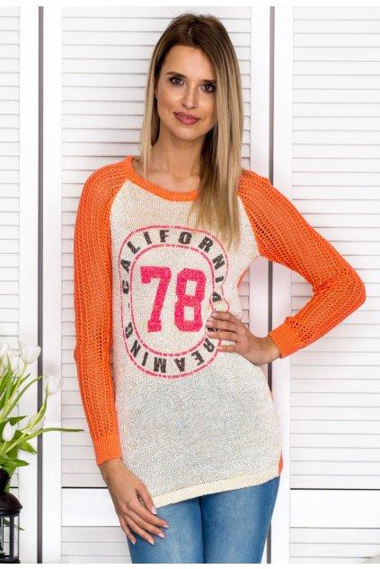 Oranžový dámský svetr