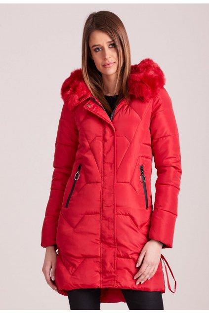 Červená dámská zimní bunda
