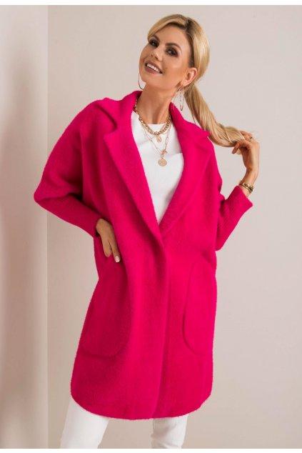 Fuchsiový dámský kabát
