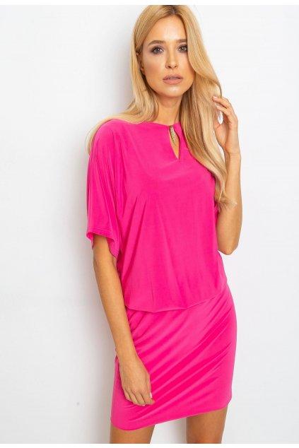 Fuchsiové dámské koktejlové šaty