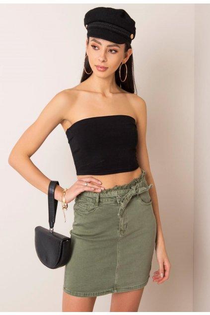 Khaki dámská džínová sukně