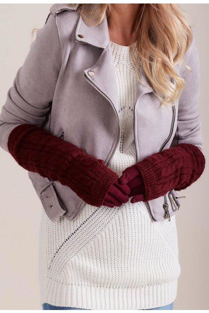 Bordové dámské rukavice