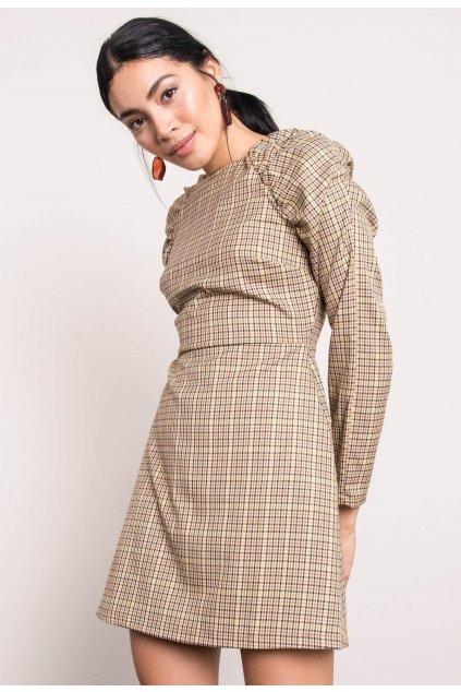Béžové dámské šaty s potiskem