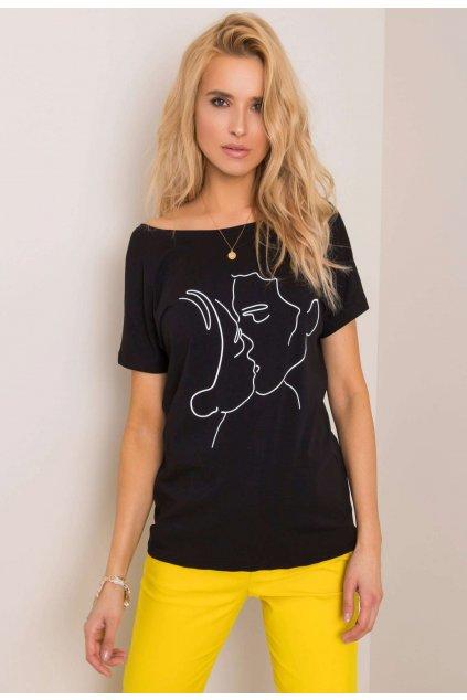 Černé dámské tričko s potiskem