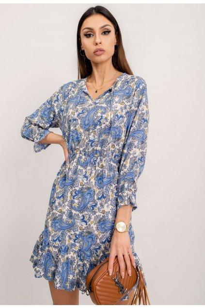 Modré dámské šaty s potiskem