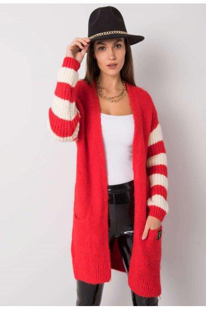 Červený dámský cardigan