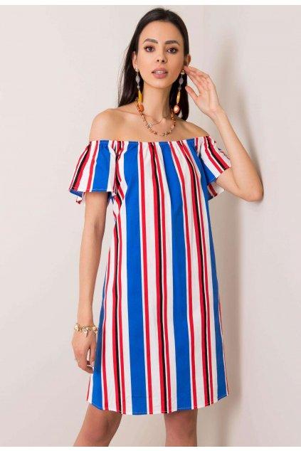 Bílo - modré dámské boho šaty