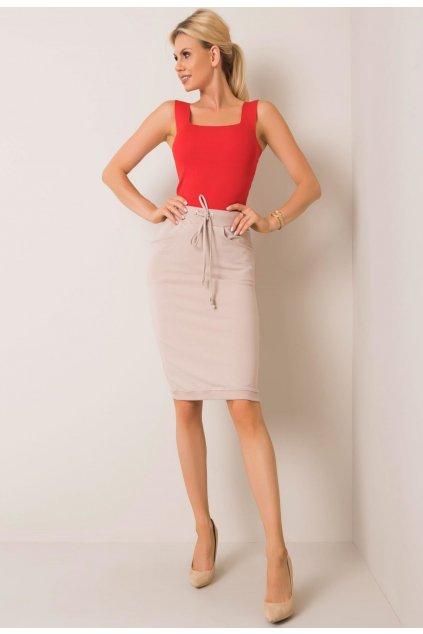 Béžová dámská pletená sukně