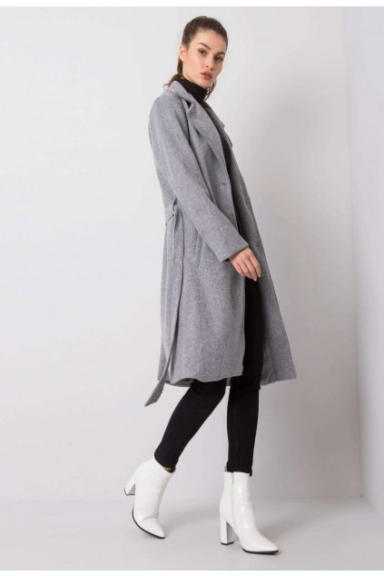 Šedý dámský kabát