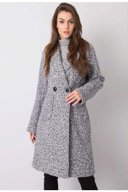 Černo - šedý dámský kabát